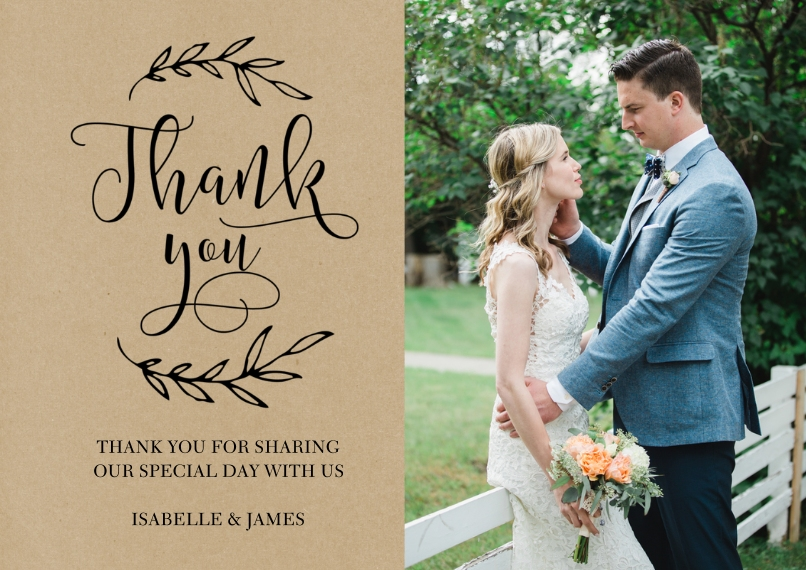 Wedding Thank You 5x7 Cards, Premium Cardstock 120lb, Card & Stationery -Wedding Thank You Laurels by Tumbalina
