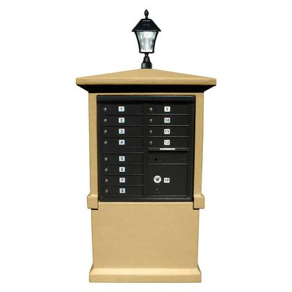 EVMC-TALL-BT-SL Estateview stucco CBU Mailbox Center  TALL pedestal (column only) in Burnt Tuscan Color with Bayview Solar