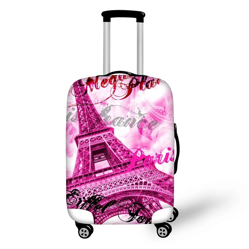 Paris Pink Eiffel Tower 3D Pattern Travel Luggage Cover 19 20 21