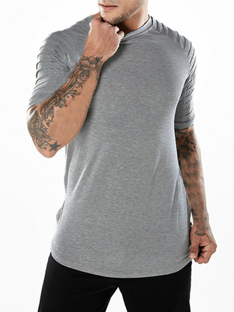 Mens Sports Breathable Ruched Zipper Short Sleeve Slim T-Shirt