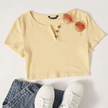 Strick T-Shirt mit Knopfen