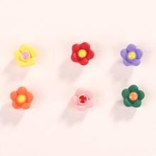 3pairs Flower Design Stud Earrings