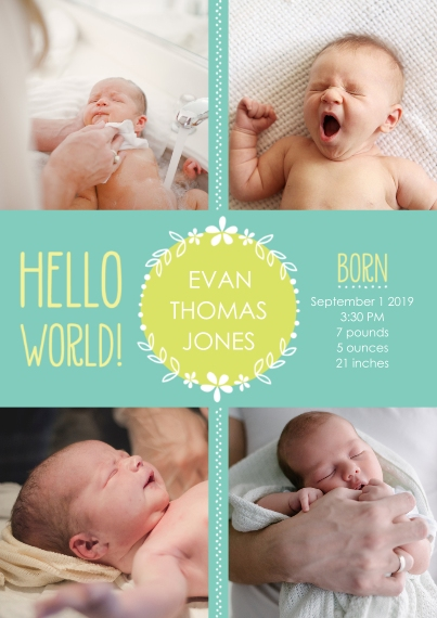 Newborn Flat Matte Photo Paper Cards with Envelopes, 5x7, Card & Stationery -Hello World! Baby Announcement Boy