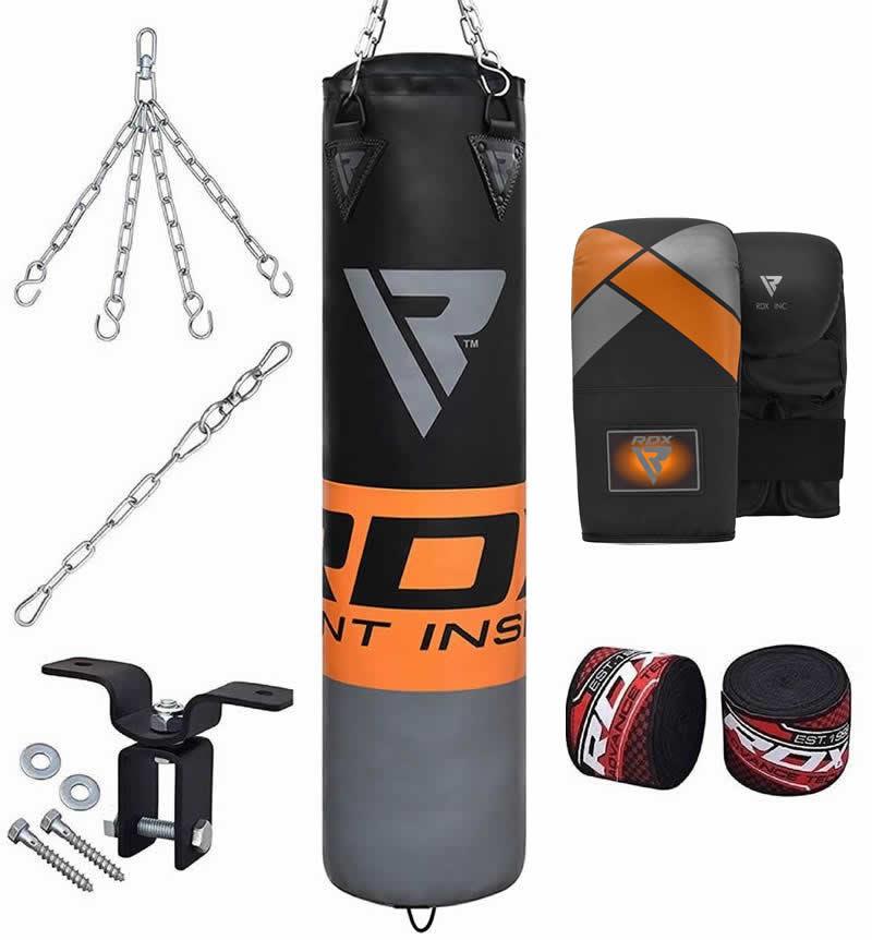 RDX F12 8pc Boxsack 4ft Gefuellt Set mit Handschuhe 12oz Orange/Silber/Schwarz