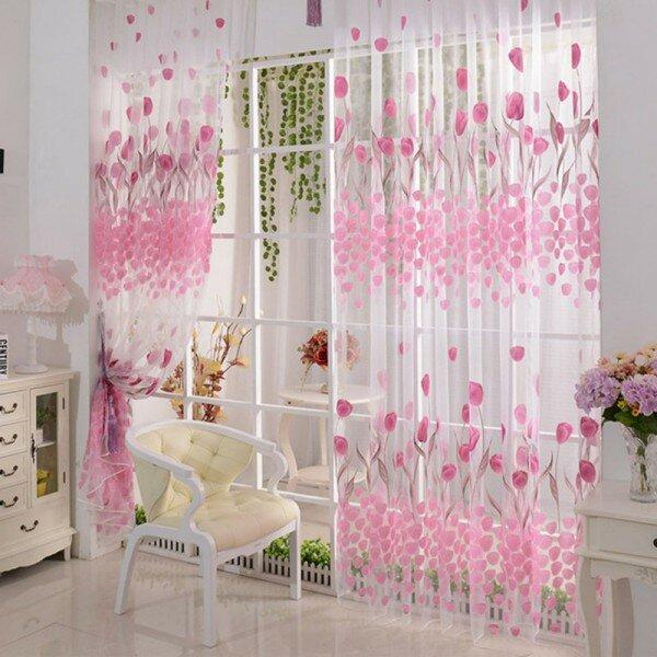 100x200cm Soft Tulle Tulip Flower Window Screen Home Sheer Window Curtain