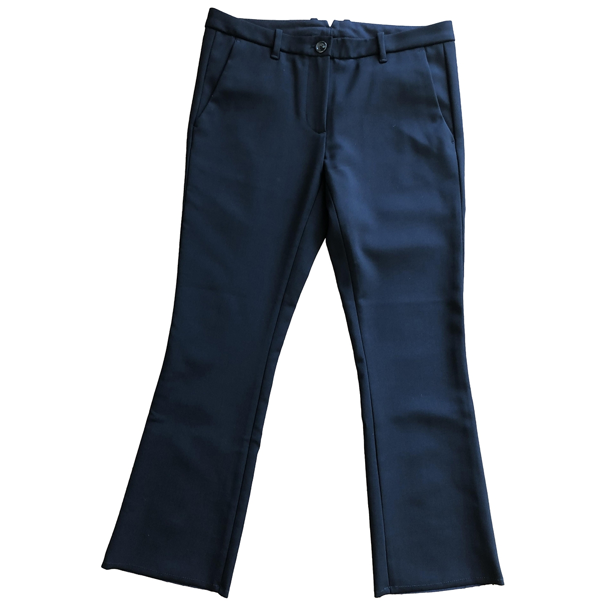 Non Signé / Unsigned \N Black Wool Trousers for Women 38 FR