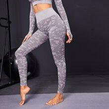Leggings deportivos de cintura ancha con estampado de camuflaje