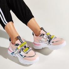 Metallic Velcro Strap Chunky Sneakers