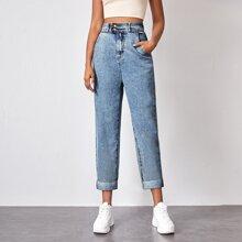 High Rise Raw Hem Mom Jeans