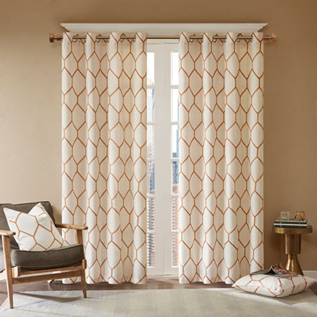 Madison Park Asher Metallic Embroidered Light-Filtering Grommet-Top Single Curtain Panel, One Size , Orange