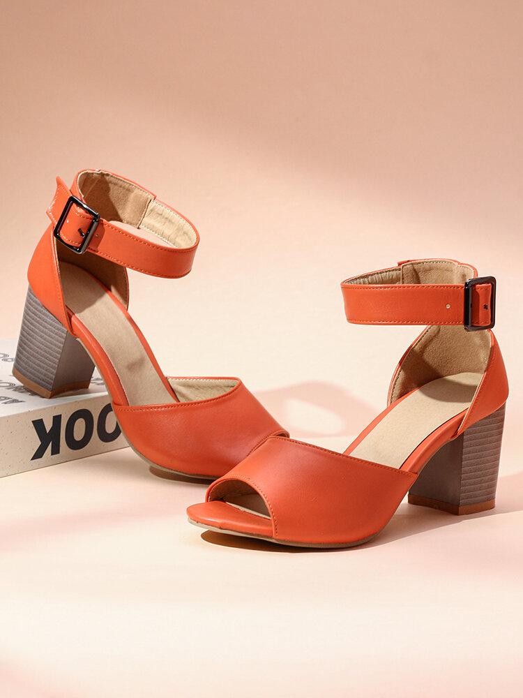 Women's Large Size High Chunky Heel Peep Toe Sandals