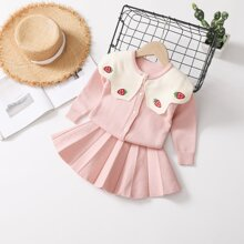 Toddler Girls Strawberry Embroidery Cardigan With Pleated Knit Skirt