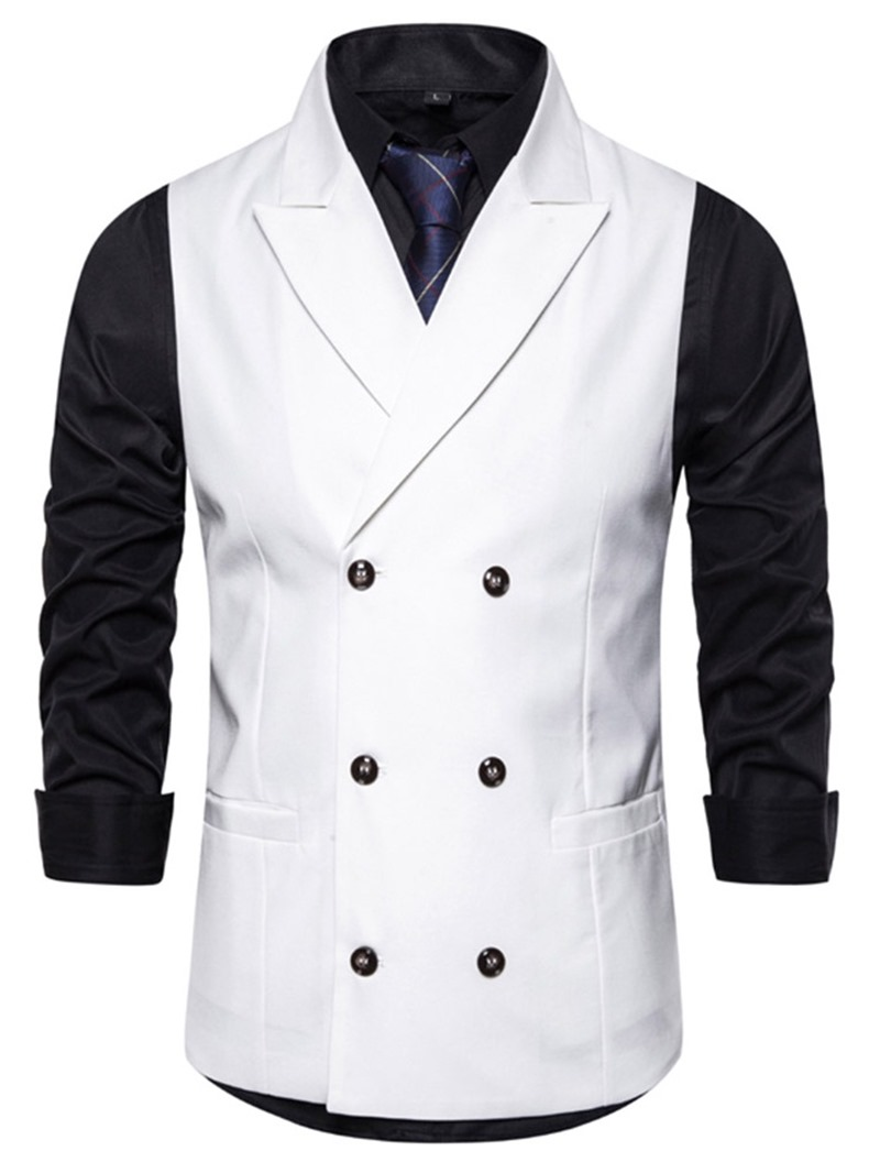 Ericdress Button Plain Notched Lapel Double-Breasted Men's Fashion Waistcoat