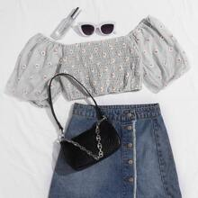 Daisy Embroidered Mesh Shirred Crop Top