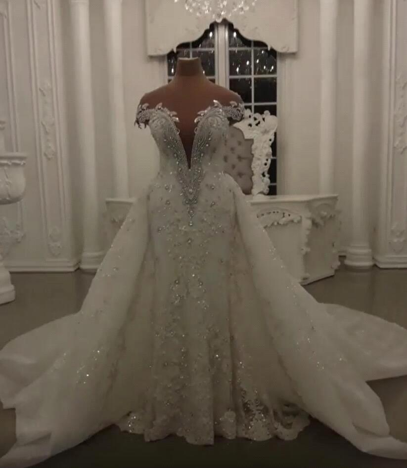 Glamorous Crystal Lace Off The Shoulder V Neck Beading Bride Dresses with Detachable Overskirt