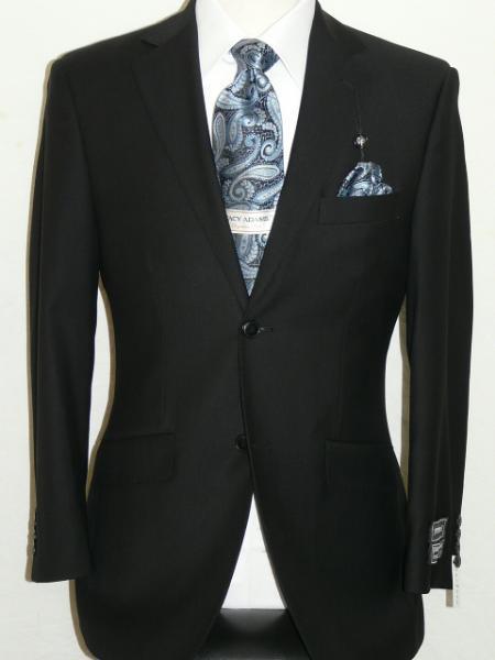 Black Extra Fine PolyRayonWool Feel Summer Light Weight Fabric Suit