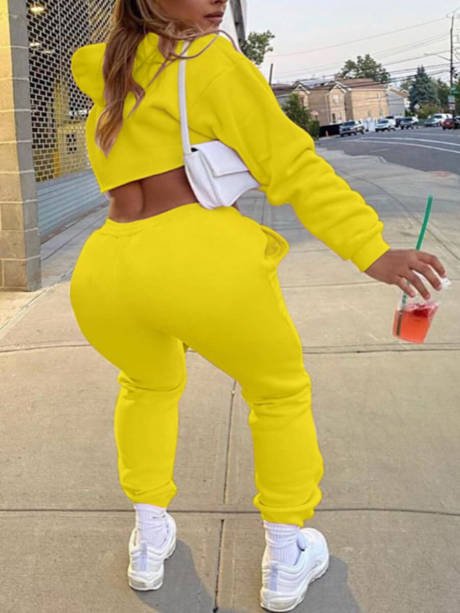 LW Lovely Casual Hooded Collar Crop Top Yellow Two Piece Pants Set