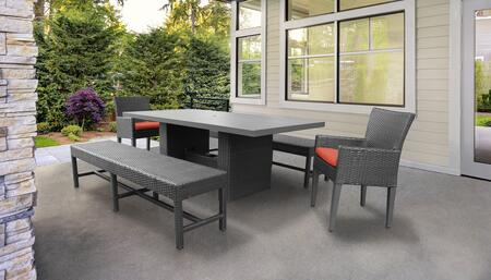 Barbados Collection BARBADOS-DTREC-KIT-2DC2DB-C-TANGERINE Patio Dining Set With 1 Table  2 Arm Chairs  2 Benches - Wheat and Tangerine