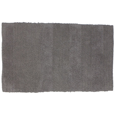 Castle Hill London Wide Cut Reversible Bath Rug Collection, One Size , Silver