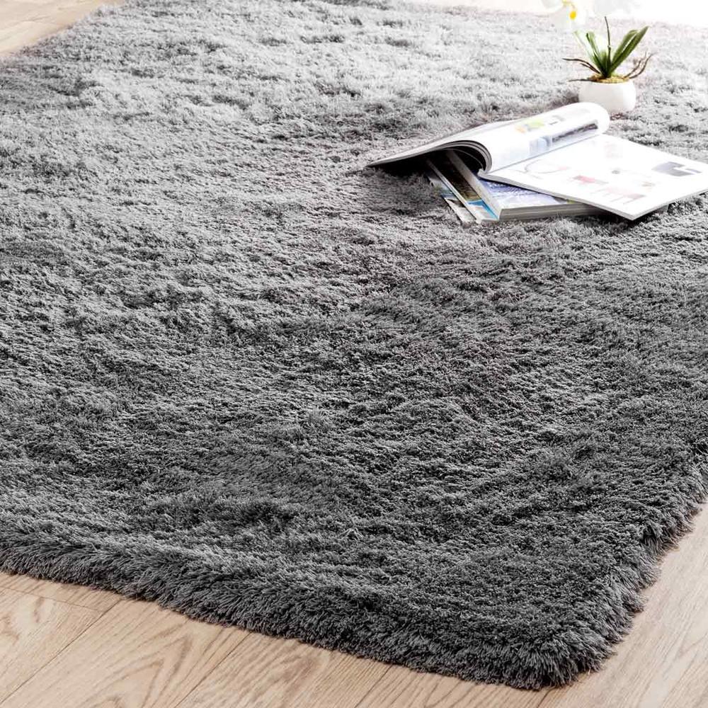 Hochflor Teppich aus Stoff, 140 x 200cm, grau