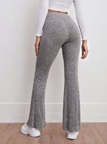 Elastic Waist Rib-knit Marled Flare Leg Pants