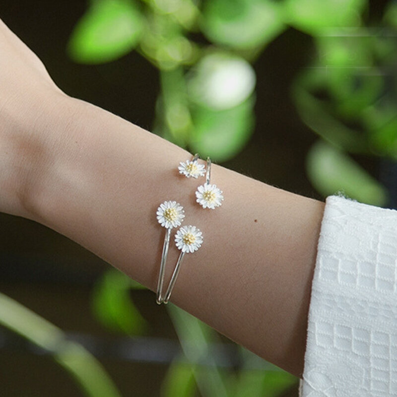 Vintage S925 Sterling Silver Daisy Bracelet Temperament Double Daisy Adjustable Opening Bracelet