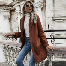 Suede Shawl Collar Belted Coat