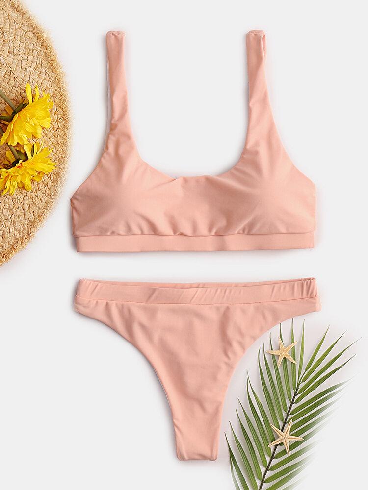 Women High Waist Bikini Bandeau Solid Swimsuit