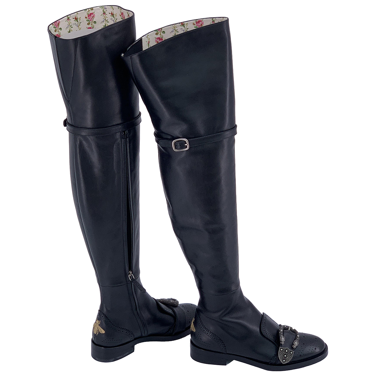 Gucci Dionysus Black Leather Boots for Women 37 IT
