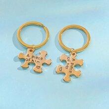2pcs Men Slogan Engraved Couple Keychain