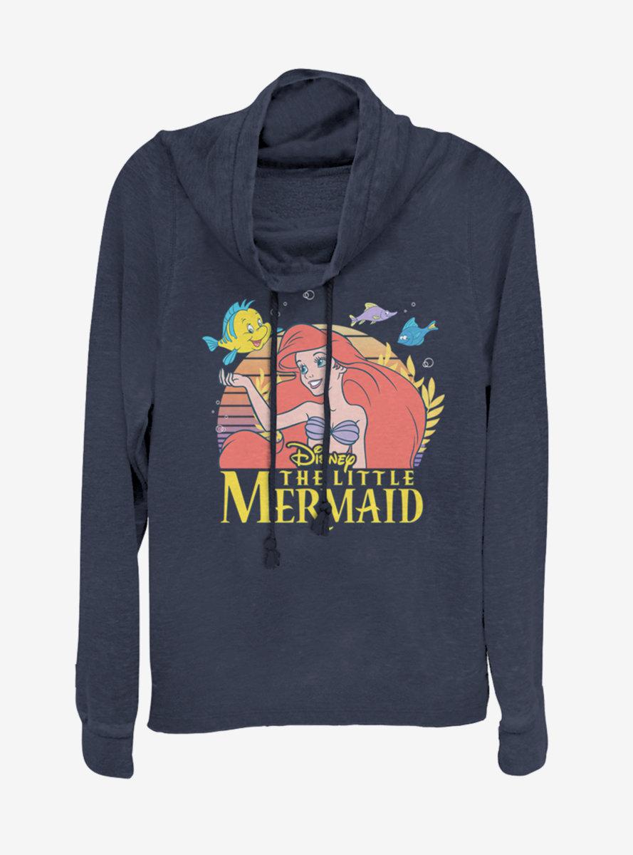 Disney Princess Little Mermaid Title Cowlneck Long-Sleeve Womens Top