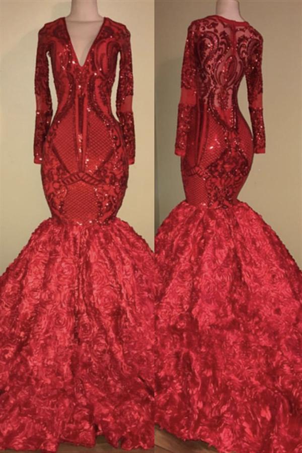 Robe de bal florale sirene col en v et appliques scintillantes | Robe rouge de luxe a manches longues pour le bal 2021