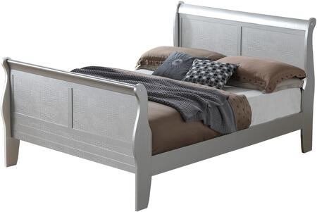 Lorana Collection G6500A-KB King Size Bed with Sleigh Headboard and Footboard  Crocodile Texture Surface  Solid Wood and Wood Veneer Construction in