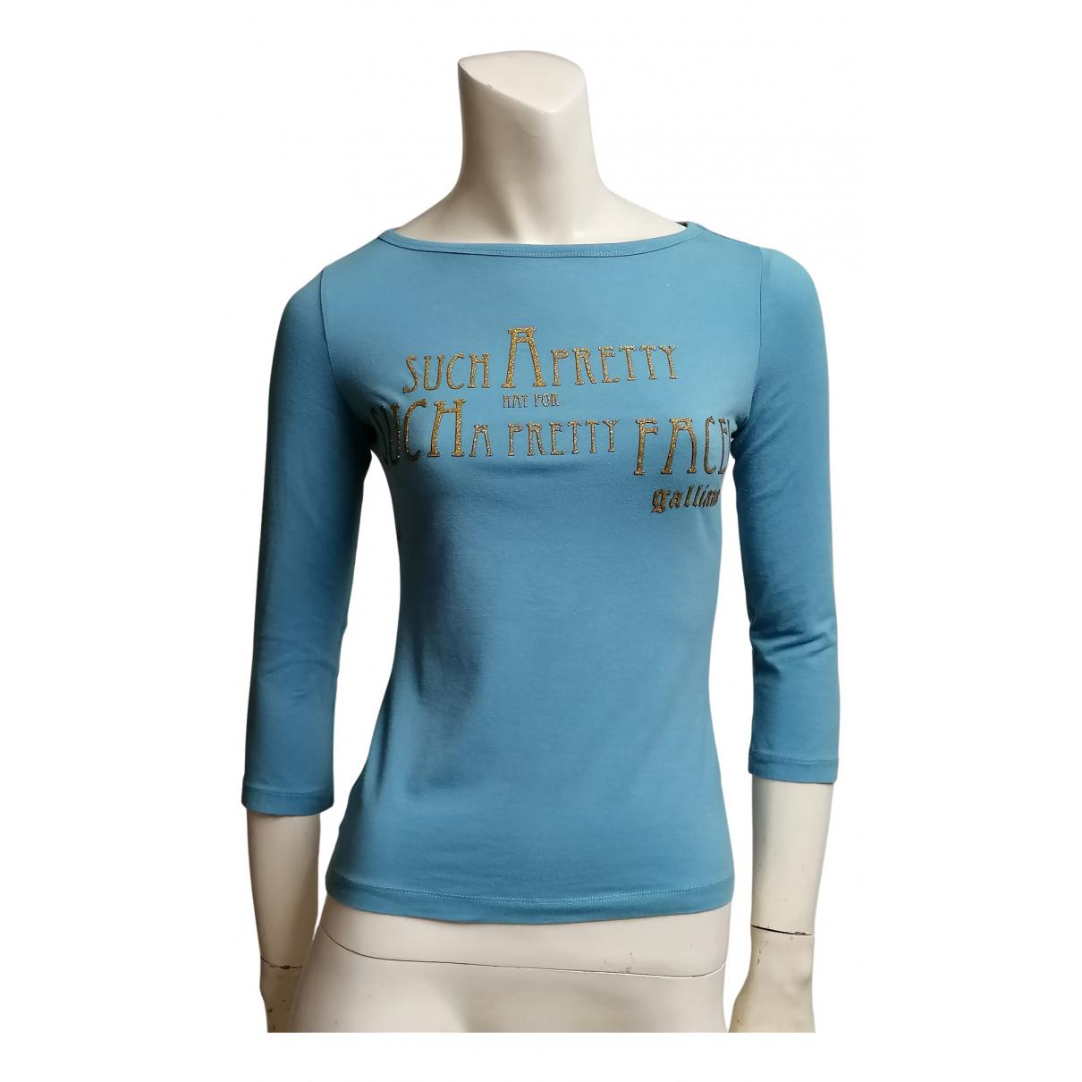 John Galliano - Pull   pour femme en coton - bleu