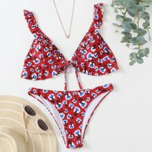 Ditsy Floral Ruffle Triangle Bikini Swimsuit