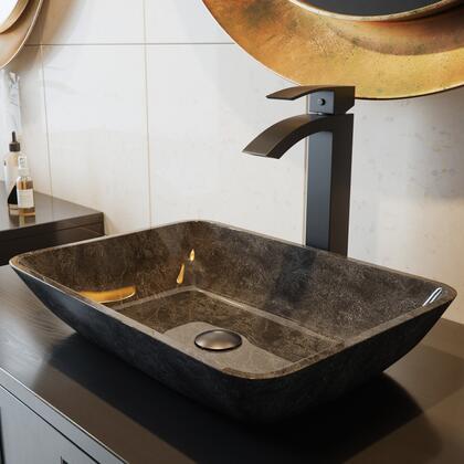 VGT1701 Rectangular Gray Onyx Glass Vessel Bathroom Sink Set With Duris Vessel Faucet in Matte