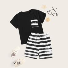 Kleinkind Jungen T-Shirt mit Tasche und Shorts