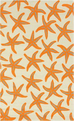 Rain RAI-1136 8 x 10 Rectangle Coastal Rug in Bright Orange  Tan