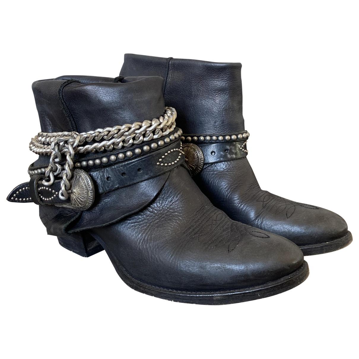 Elena Iachi \N Stiefel in  Schwarz Leder