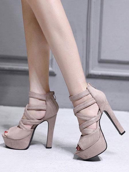 Milanoo High Heel Sandals Womens Suede Criss Cross Peep Toe Ankle Strap Chunky Heel Sandals