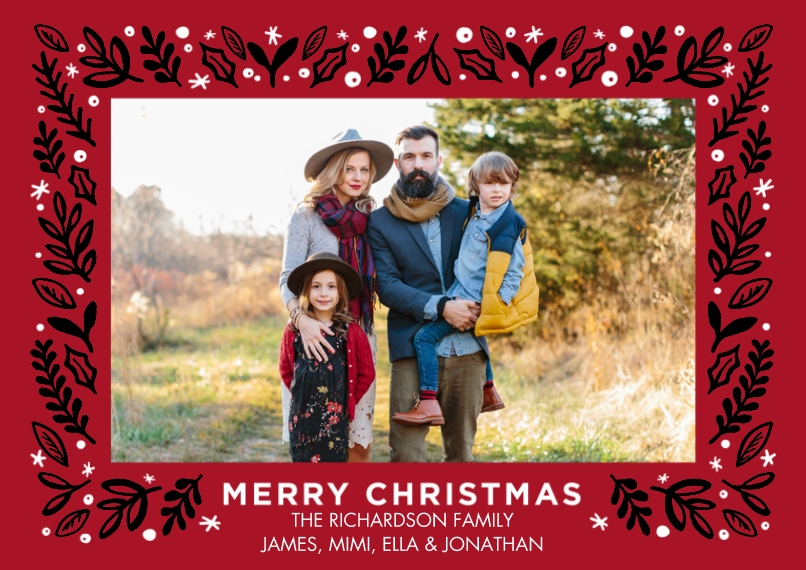 Christmas Photo Cards Set of 20, Premium 5x7 Foil Card, Card & Stationery -Christmas Foil Border Foliage by Tumbalina