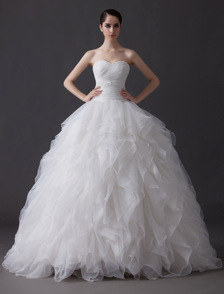 Milanoo Ethereal Ball Gown Tiered Cascading Ruffle Ivory Wedding Dress with Sweetheart Neck