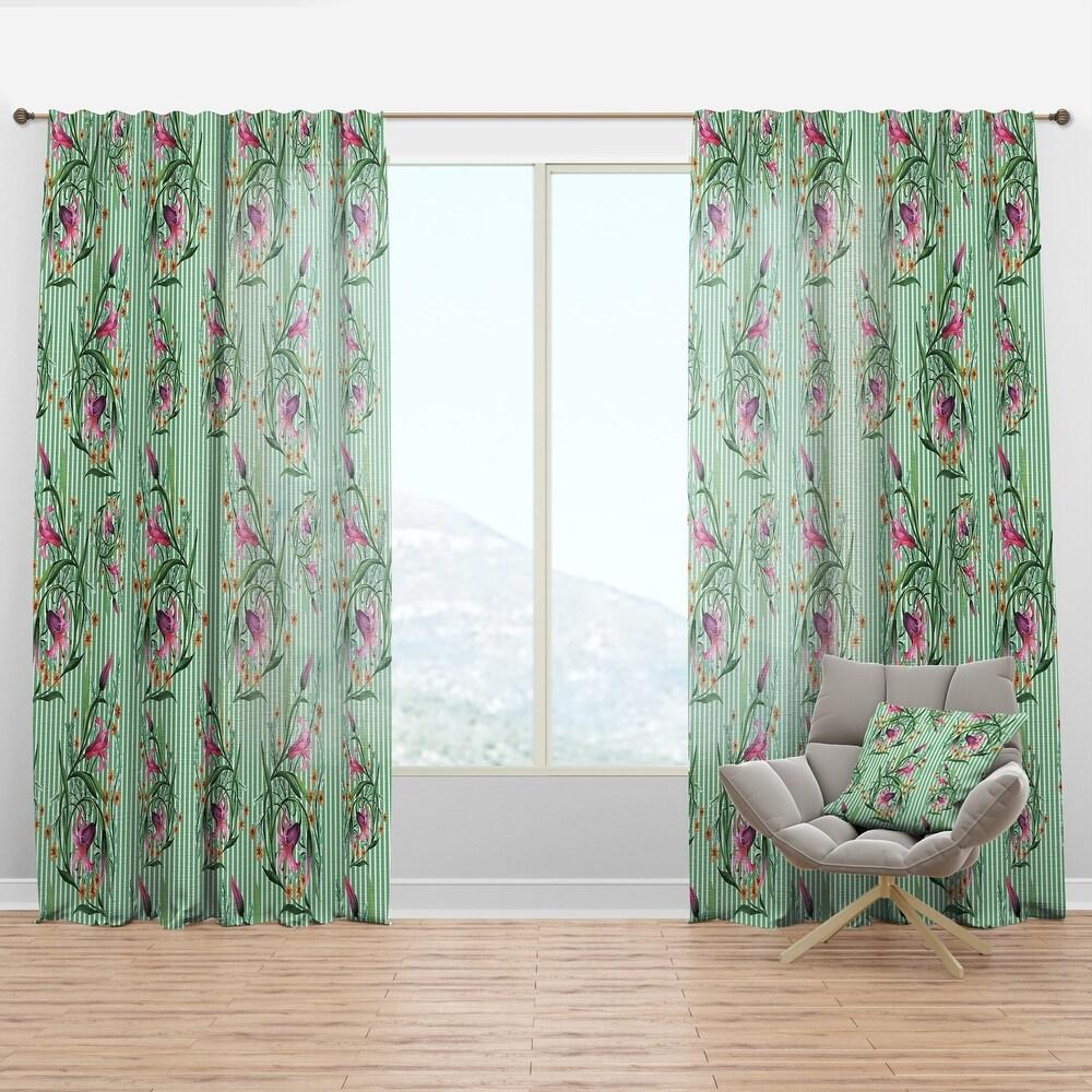 Designart 'Floral Botanical Retro IX' Mid-Century Modern Curtain Panel (50 in. wide x 90 in. high - 1 Panel)