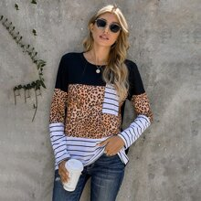 Striped & Leopard Panel Pocket Front Tee