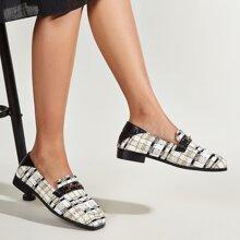 Tweed Loafers mit Horsebit Dekor