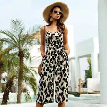 Allover Print Belted Cami Jumpsuit