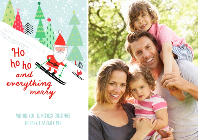 Holiday Photo Cards 5x7 Cards, Premium Cardstock 120lb with Rounded Corners, Card & Stationery -Skiing Santa's Merry Wishes by Hallmark