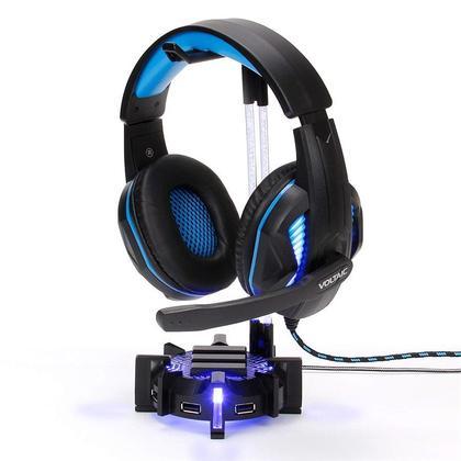 ENHANCE® Gaming Headset Stand Headphone Holder, 4 Port USB Hub, 7 LED Modes