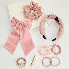 10 piezas set accesorio de pelo con perla artificial