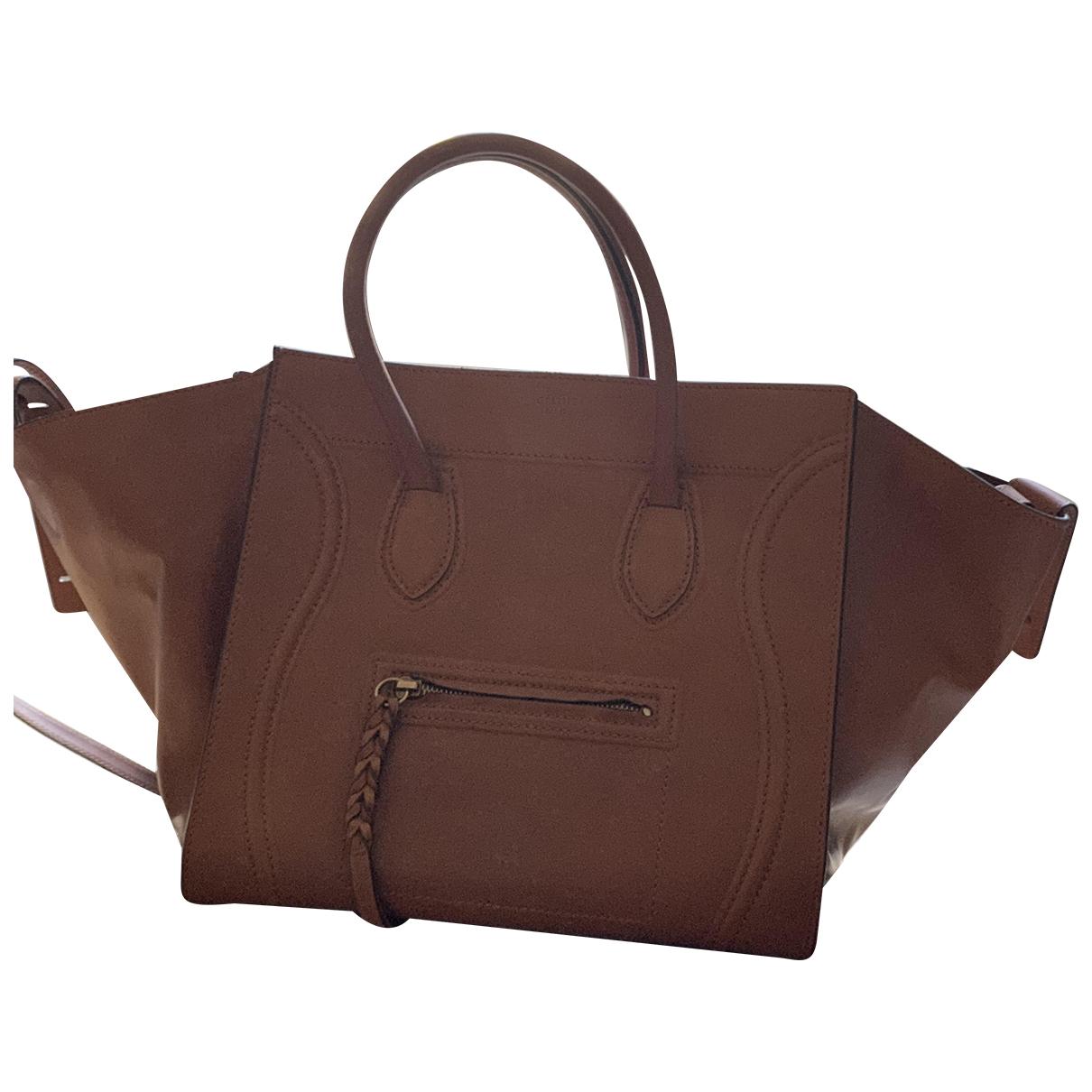 Celine - Sac a main Luggage Phantom pour femme en cuir - camel